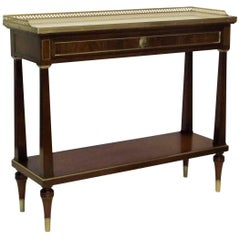 Louis XVI Style Mahogany Server with Brass Trim and Marble Top