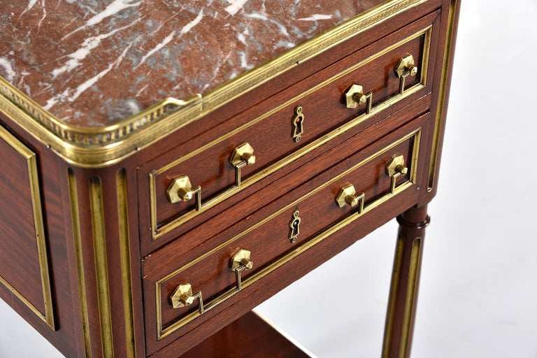 Louis XVI Style Mahogany Side Cabinet with Marble and Brass For Sale 6