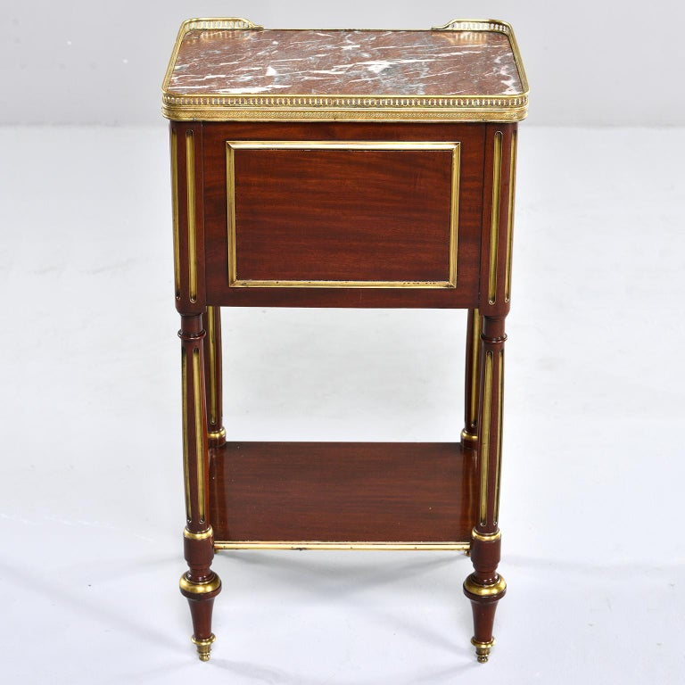 French Louis XVI Style Mahogany Side Cabinet with Marble and Brass For Sale