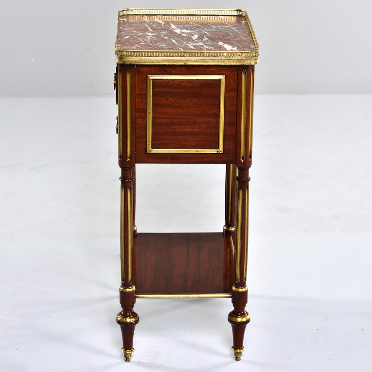 Louis XVI Style Mahogany Side Cabinet with Marble and Brass In Good Condition For Sale In Troy, MI