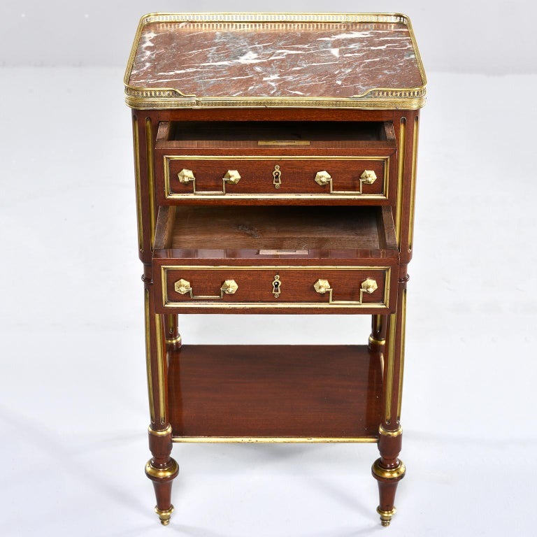 19th Century Louis XVI Style Mahogany Side Cabinet with Marble and Brass For Sale
