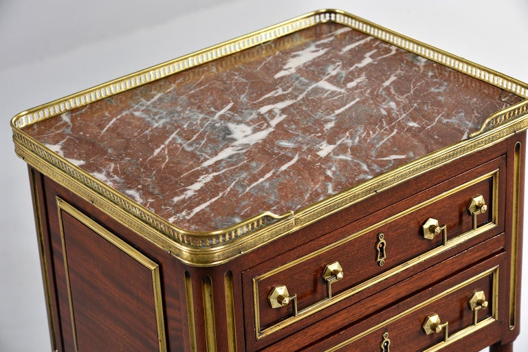 Louis XVI Style Mahogany Side Cabinet with Marble and Brass For Sale 1