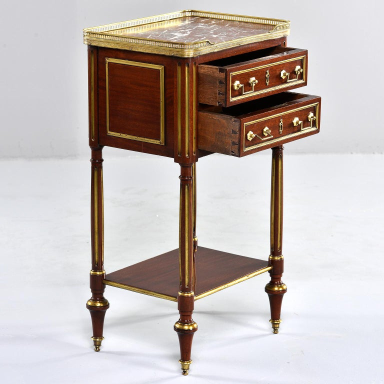 Louis XVI Style Mahogany Side Cabinet with Marble and Brass For Sale 2