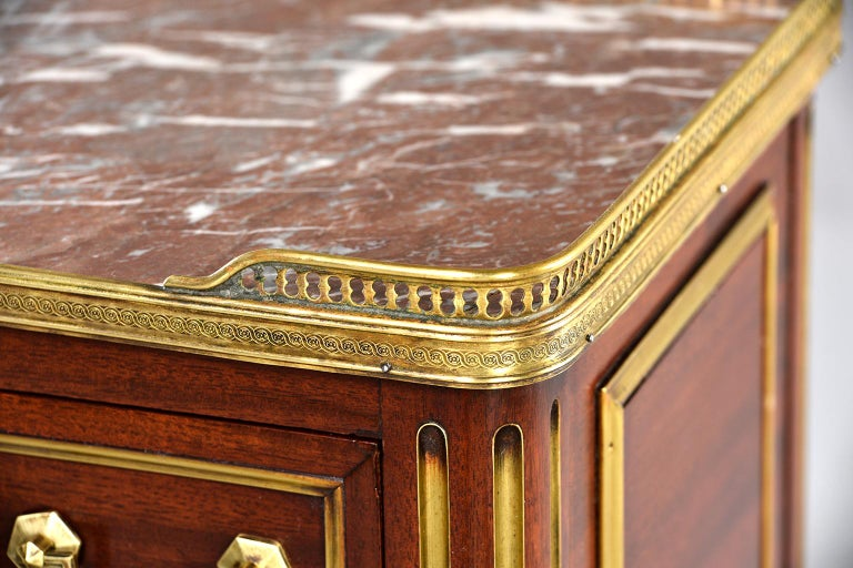 Louis XVI Style Mahogany Side Cabinet with Marble and Brass For Sale 3