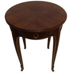 Louis XVI Style Mahogany Side Table with Drawer, French Early 20th century