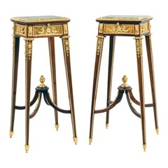 Louis XVI Style Mahogany Stands Attributed to François Linke, French, circa 1890