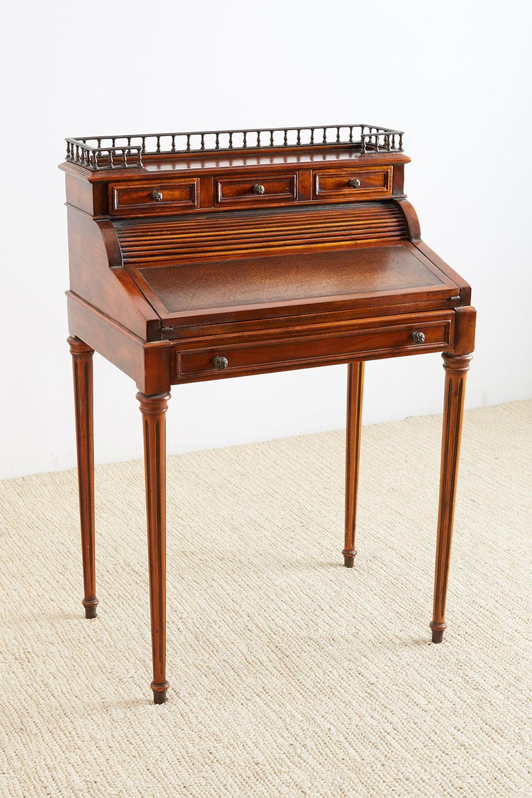 Louis Xvi Style Mahogany Tambour Writing Table For Sale At