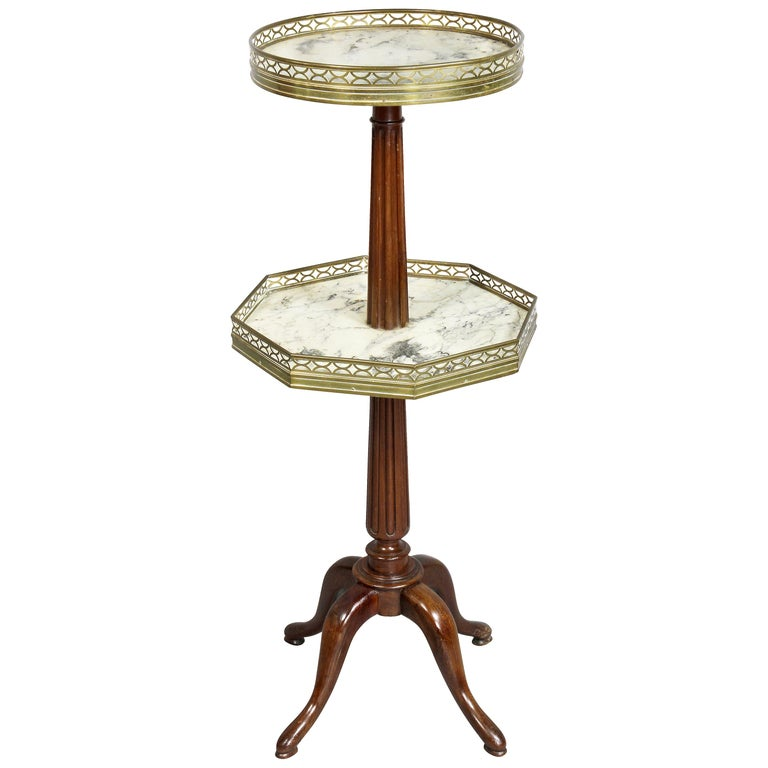 Louis XVI Style Mahogany Two-Tier Stand by Escalier De Christa For Sale