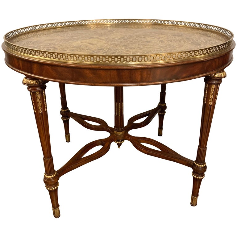 Louis XVI Style Maitland Smith Center Card or Small Dining Table For Sale