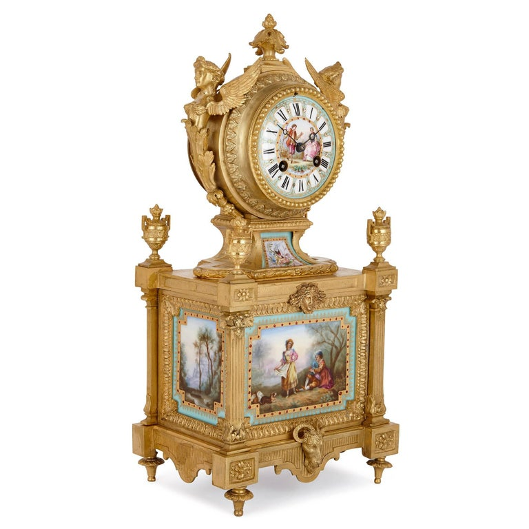 This fine neoclassical style mantel clock will make a sumptuous addition to a grand room, or could be given as a unique gift to a loved one. The clock is the work of Ernest Royer, an important French maker active in the second half of the 19th
