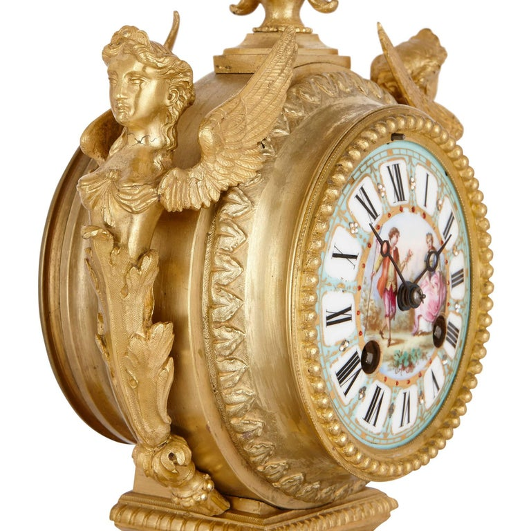 Gilt Louis XVI Style Mantel Clock by Ernest Royer For Sale