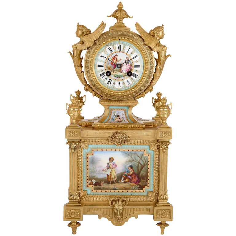 Louis XVI Style Mantel Clock by Ernest Royer For Sale