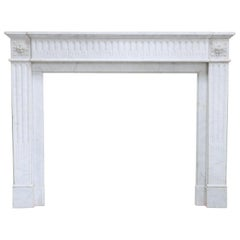 Louis XVI Style Mantle Surround of Carrara Marble