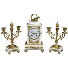 Louis XVI Style Marble and Bronze Clock Garniture