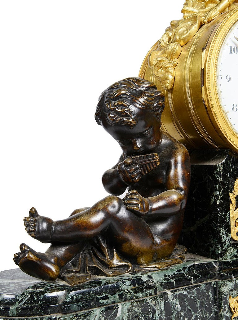 French Louis XVI Style Marble and Ormolu Mantel Clock, 19th Century For Sale