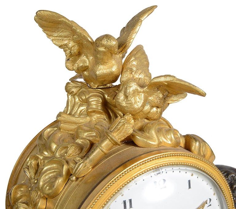 Bronze Louis XVI Style Marble and Ormolu Mantel Clock, 19th Century For Sale