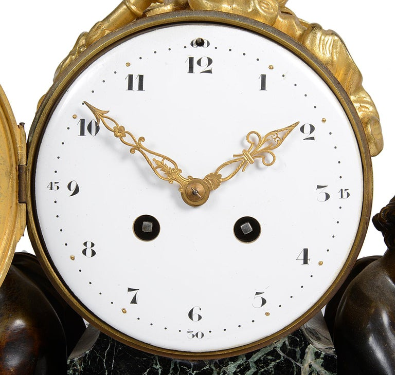 Louis XVI Style Marble and Ormolu Mantel Clock, 19th Century For Sale 1