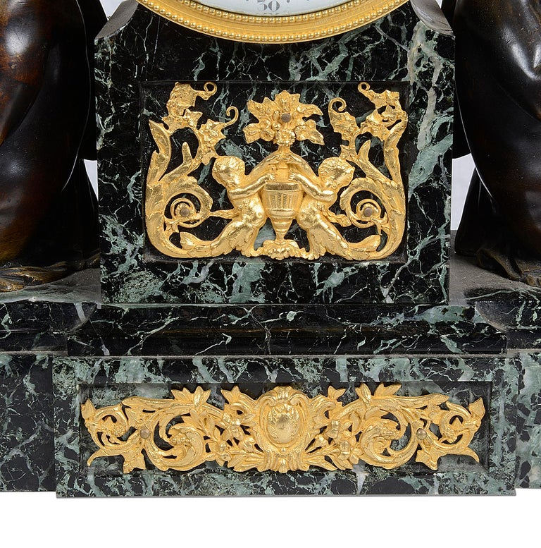 Louis XVI Style Marble and Ormolu Mantel Clock, 19th Century For Sale 2