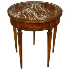 Louis XVI Style Marble Bouillotte Table with Inlay