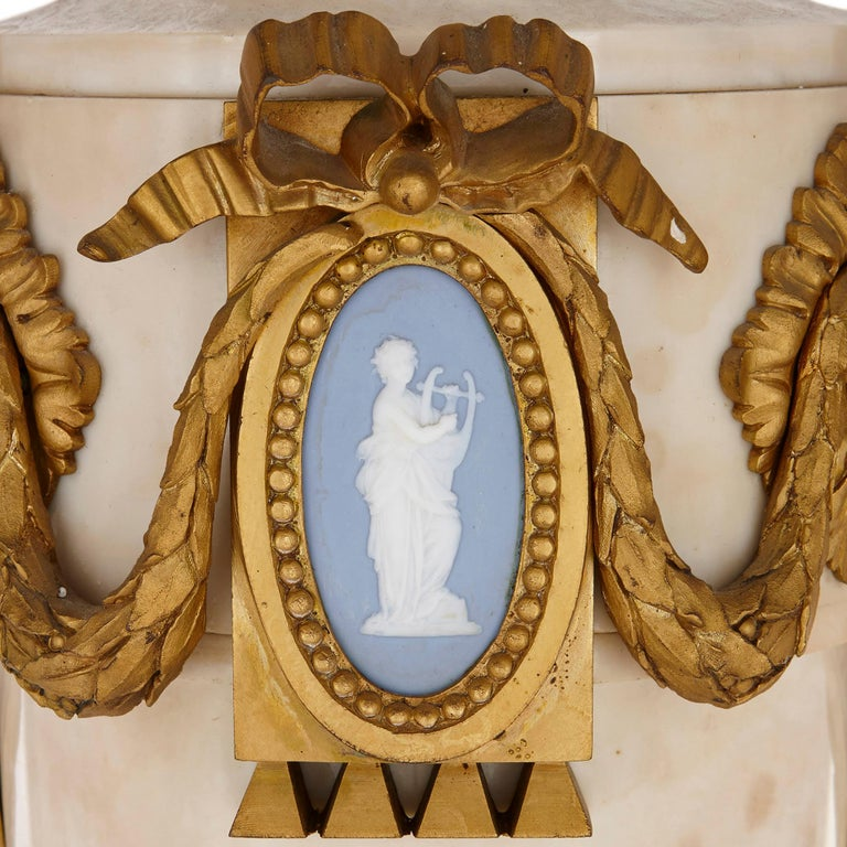 French Louis XVI style marble, gilt bronze and jasperware chandelier  For Sale