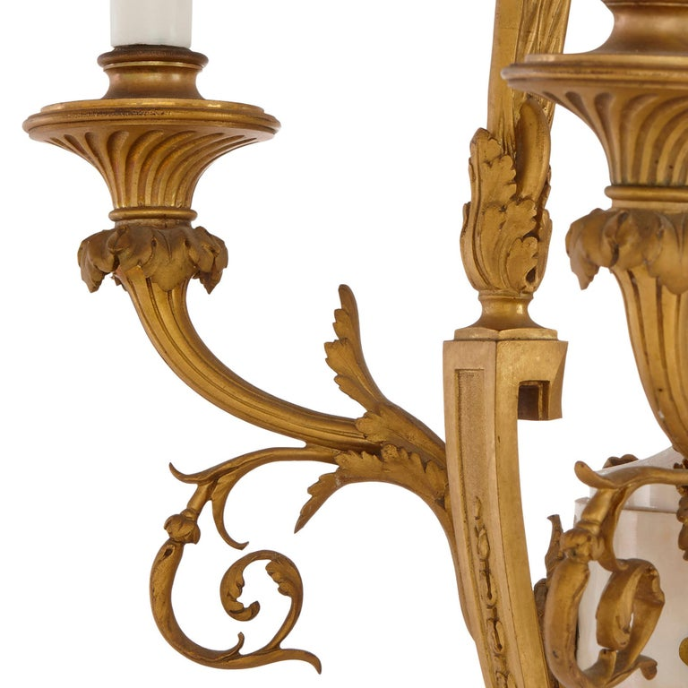Louis XVI style marble, gilt bronze and jasperware chandelier  In Good Condition For Sale In London, GB