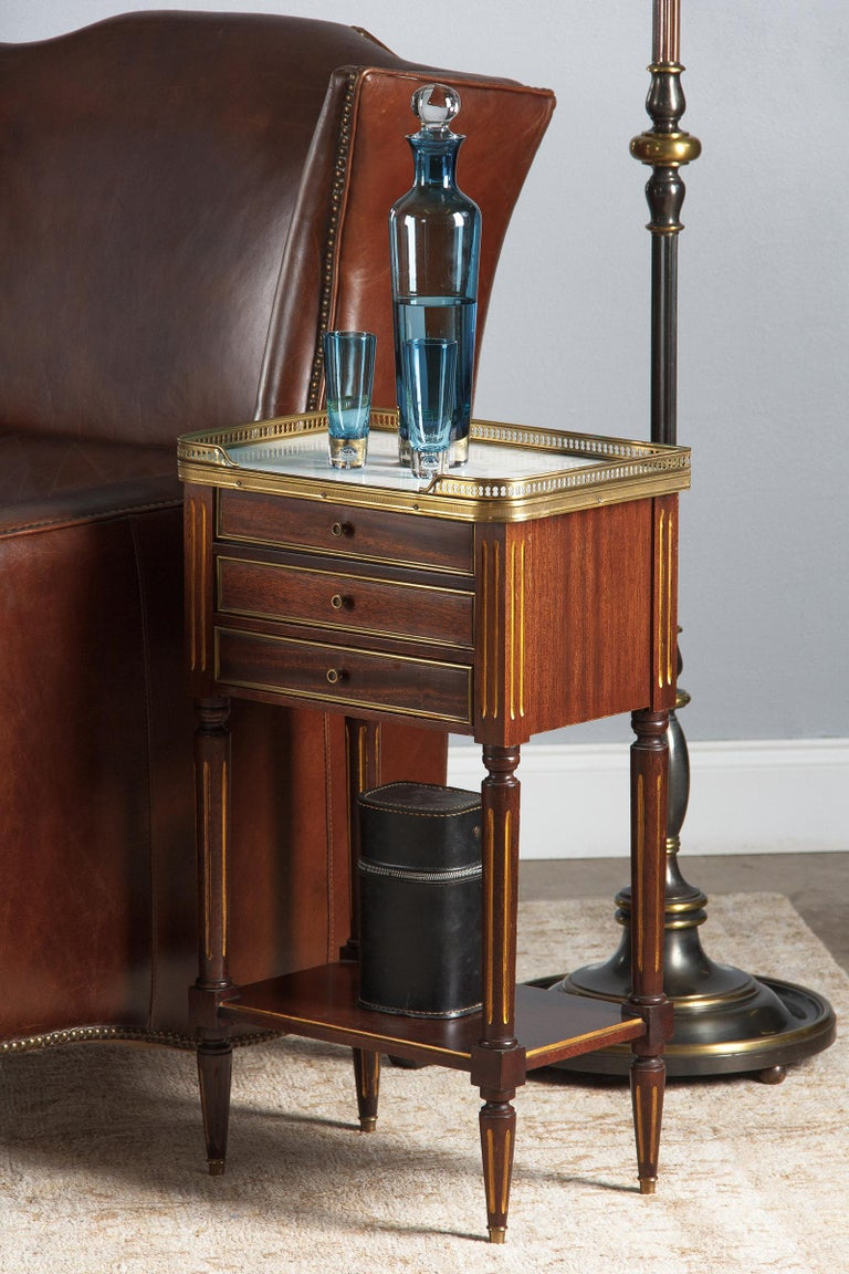 Louis XVI Style Mahogany and Marble-Top Bedside Cabinet, 1920s For Sale 11