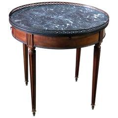 Maison Jansen Walnut Louis XVI Style Marble Top Bouillotte Table with Trays