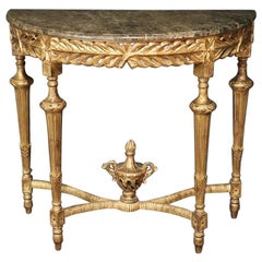 Gilt Louis XVI Style Marble Top Demilune Console Sofa Table