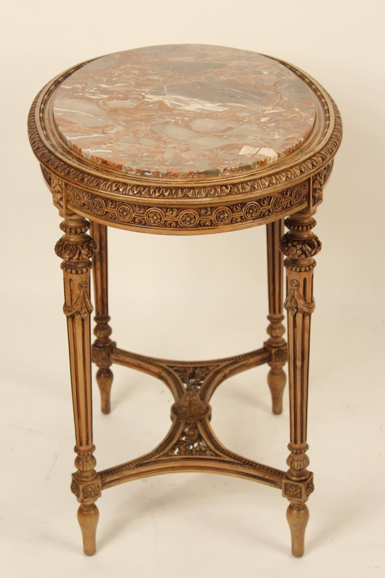 Louis XVI Style Marble-Top Occasional Table In Good Condition For Sale In Laguna Beach, CA