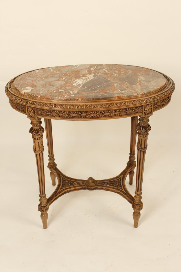 Mid-20th Century Louis XVI Style Marble-Top Occasional Table For Sale