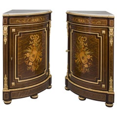 Louis XVI Style Marquetry Inlaid Encoignures by Paul Sormani, French, circa 1870
