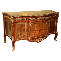 Louis XVI Style Marquetry Inlaid Marble-Top Commode