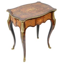 Louis XVI Style Marquetry Side or Work Table, circa 1890