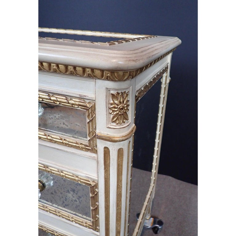 Contemporary Louis XVI Style Mirrored Gilt and White Painted Chest of Drawers For Sale