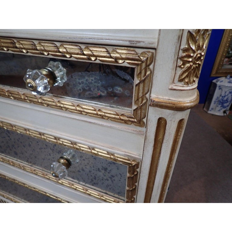 Louis XVI Style Mirrored Gilt and White Painted Chest of Drawers For Sale 2