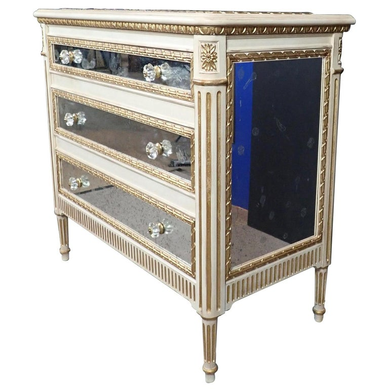 Louis XVI Style Mirrored Gilt and White Painted Chest of Drawers For Sale