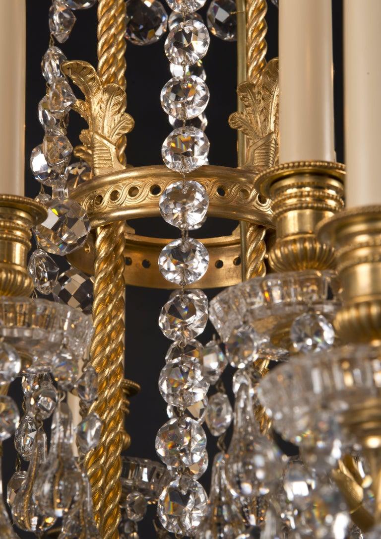 Louis Xvi Style Moulded Glass Twenty Light Chandelier By