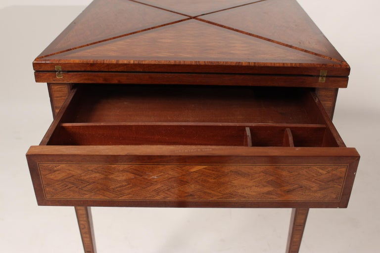 Louis XVI Style Napkin Fold Games Table, Signed Haentges, Paris For Sale 6
