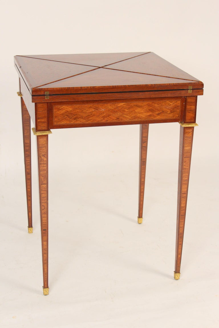 French Louis XVI Style Napkin Fold Games Table, Signed Haentges, Paris For Sale
