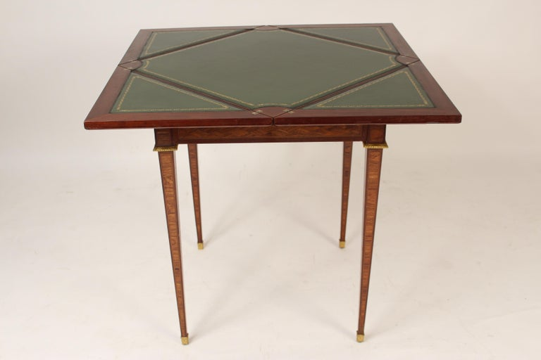 Louis XVI Style Napkin Fold Games Table, Signed Haentges, Paris In Good Condition For Sale In Laguna Beach, CA