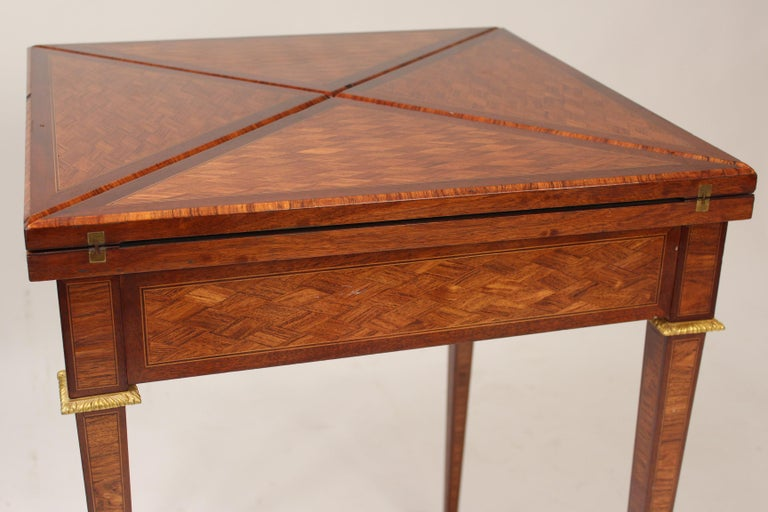Early 20th Century Louis XVI Style Napkin Fold Games Table, Signed Haentges, Paris For Sale