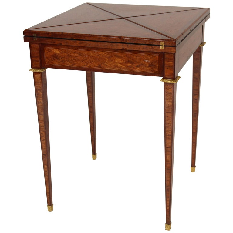 Louis XVI Style Napkin Fold Games Table, Signed Haentges, Paris For Sale