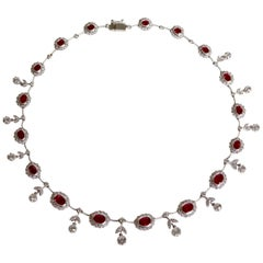 Louis XVI Style Necklace in 18 Carat White Gold Rubies and Diamonds