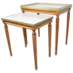 Louis XVI Style Nesting Tables in Mahogany & Carrara Marble with Brass Gallery