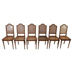 Louis XVI Style Oak Wood and Wien Straw Chairs, Set of 6