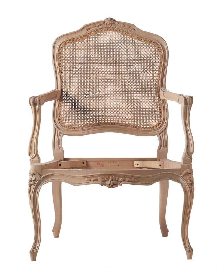 Chippendale Louis XVI Style Open Armchair and Carved Italian Beechwood Chair For Sale