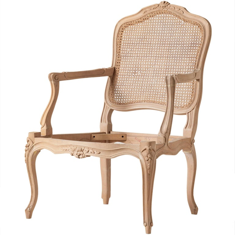 Louis XVI Style Open Armchair and Carved Italian Beechwood Chair For Sale