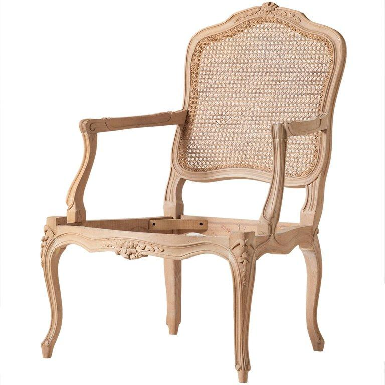 Hand-Carved Louis XVI Style Open Armchair and Carved Italian Beechwood Chair For Sale