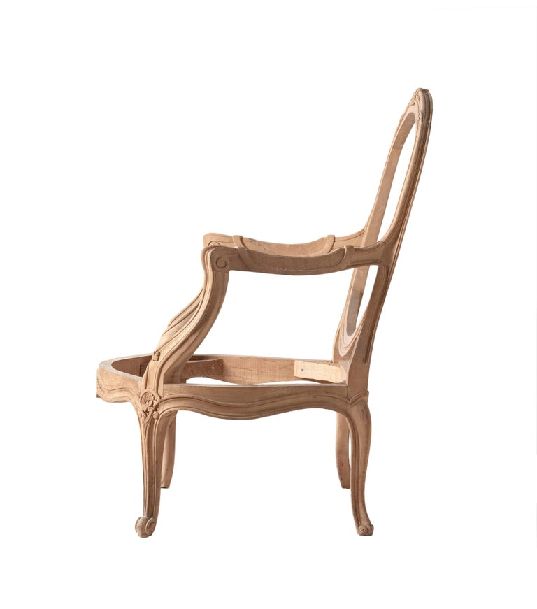 French Provincial Louis XVI Style Open Armchair Hand-Carved from Italy For Sale