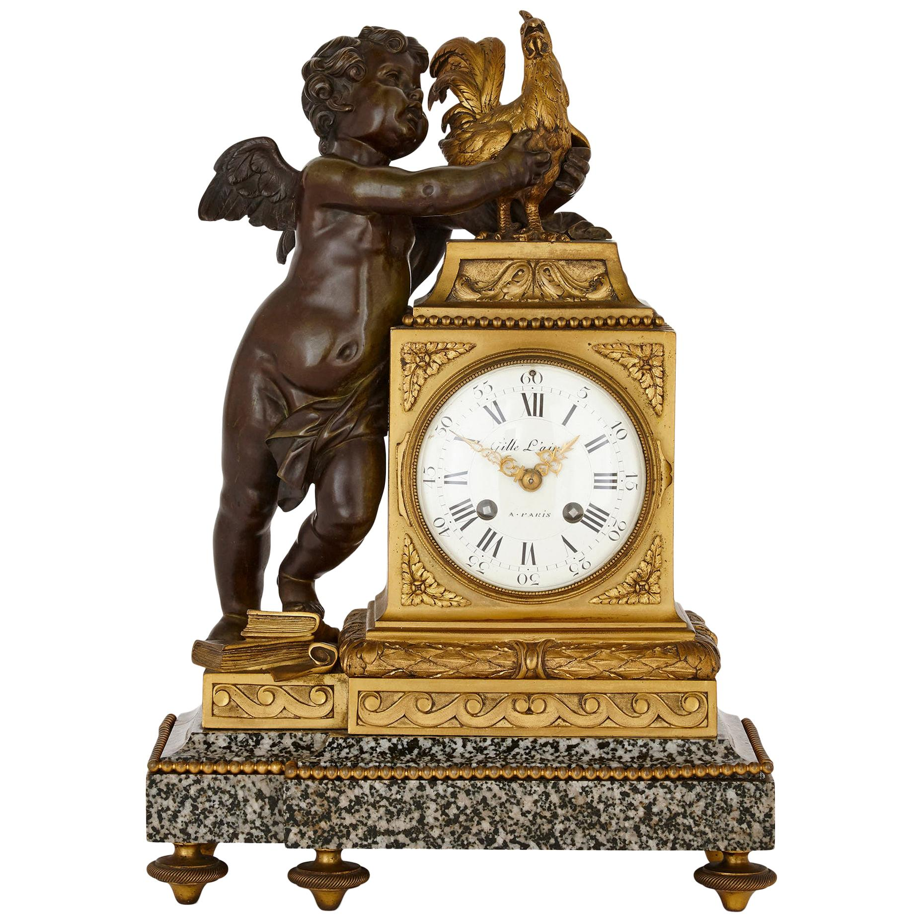Louis XVI Style Ormolu and Marble Mantel Clock